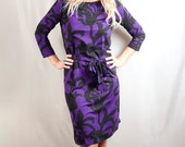 SALE DRESS Womens Floral Dress / Sleeves / Casual Dress / Office Fashion / A-line / Jersey / Purple Dress / Cotton / Knee Length