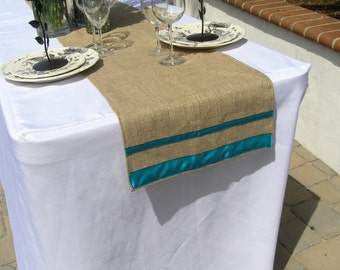 Burlap Table Runner with Ribbon, Wedding, Shower, Party, Home Decor, Custom Size, Custom Colors Available