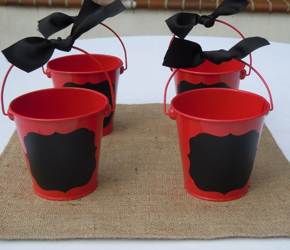 Red Buckets with Chalkboard Vinyl Labels and Black Ribbon Tie, Set of 4