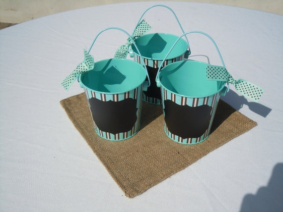 Robin Egg Blue and Brown Stripe Buckets with Chalkboard Vinyl Labels and  Ribbon, Set of 3, on SALE