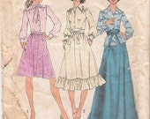70s Mini Skirt Pattern 1970s Maxi Skirt, Narrow Shoulder Blouse, Simplicity 7001 Size 16, Bust 38, Vintage Supplies YacketUSA