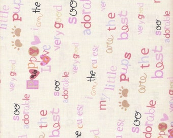Off White Fabric Pink Fabric Lavender Fabric My Little Puppy Fabric 2 2/3 Yards Cotton Quilting Fabric Sewing Supplies YacketUSA