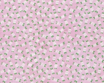 Pink Fabric White Floral Fabric White Flower Fabric Aunt Lindy Fabric Yardage Cotton Fabric Quilting Fabric Supplies YacketUSA