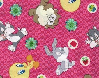 Pink Fabric Looney Tunes Fabric Cartoon Fabric Yardage Bugs Bunny Taz Tweety Bird Cotton 2 Yards Craft Supplies YacketUSA