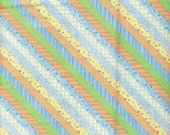 Green Fabric Blue Orange Yellow Diagonal Stripe Fabric Yardage 6 1/3 Yards Baby Fabric Cotton Quilting Fabric Sewing Supplies YacketUSA