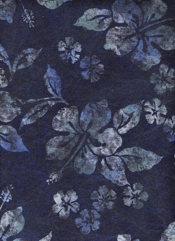 "Indigo Blue Fabric Green Batik Floral Fabric Fat Quarters - also BTY Cotton Fabric 44"" x 1 Yards, Last Piece, Supplies YacketUSA"
