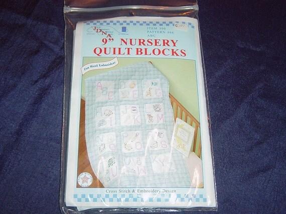 """Boy Blue Alphabet Nursery Quilt Blocks to Embroider Nine 9"""" Inch Supplies YacketUSA"""