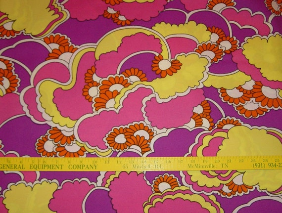 Hot Pink Fabric Fuschia Yellow Orange Fabric  Abstract Polyester Fabric Mod Peter Max Style, Vintage Supplies YacketUSA