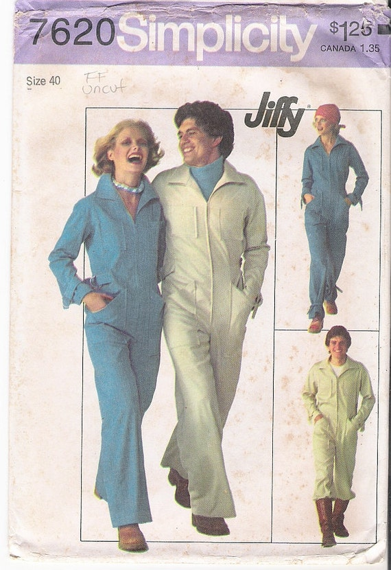 Vintage Sewing Pattern, Simplicity 7620 Mens Size 40, Waist 34, Mens Jiffy Jumpsuit 1976
