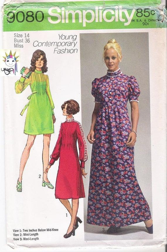 70s Maxi Dress Patterns Mini Dress Patterns 1970s Patterns Simplicity 9080 Womens Size 14 Uncut Patterns Vintage Supplies YacketUSA