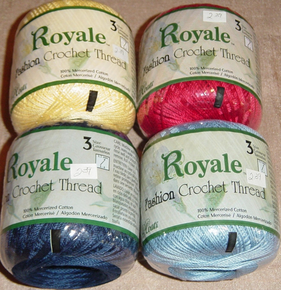 Crocheting Thread : Royale Fashion Crochet Cotton Thread Size 3 Red by YacketUSA