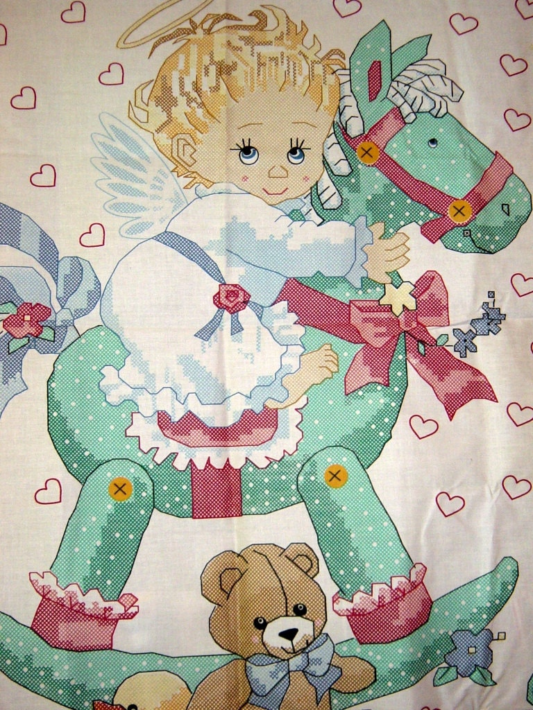 White Fabric Rocking Horse Angel Baby Quilt Top Panel By