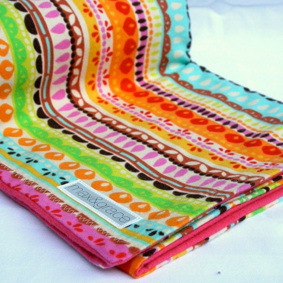 Fiesta- double sided girl's flannel baby blanket