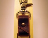 Trigger Clip Keychain - Handmade in Brown Leather - by theCraftmen
