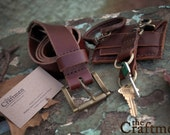 Double Keychain - Handmade in Brown Leather w/contrast stitch - by theCraftmen