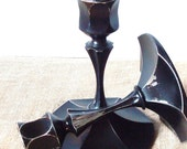 Pair of Black Distressed Metal Candlestick Holders