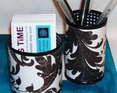 Black and White Leafy Mini Pencil Holder Desk Accessory Set No. 096