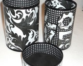 RESERVED RESERVED Pencil Holder set - Black and White LOVE No. 115