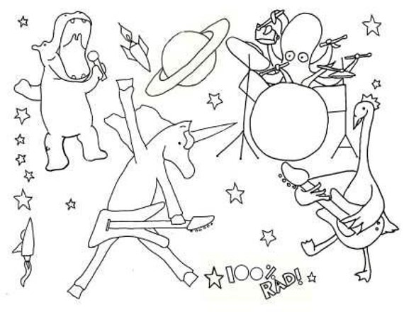 Unavailable listing on etsy for Rock band coloring pages
