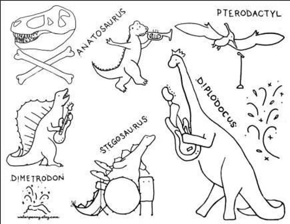 dinosaur rock band embroidery or coloring page. Black Bedroom Furniture Sets. Home Design Ideas