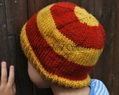 Gold and Burgundy Striped Toddler Beanie Hat