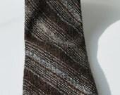 Johnny Carson necktie, men's brown striped vintage tie, 70's skinny tie