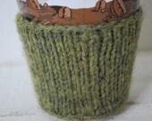 FREE SHIPPING Green Wool Coffee Cup Cozy. Knit coffee sleeve, handmade