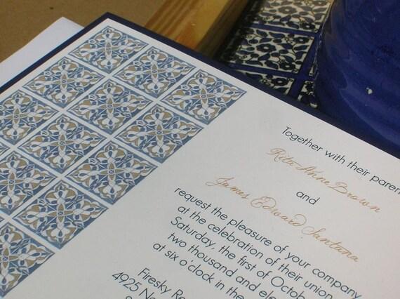 Spanish Wedding Invitations Examples: Items Similar To SAMPLE Spanish Tile Wedding Invitation On