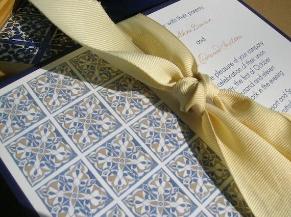 Wedding Invitations Spanish: Items Similar To Spanish Tile Wedding Invitation Deposit