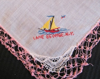 Pretty Souvenir Hankie with Pink Crocheted Trim - Lake George NY