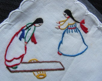 Lovely Little Embroidered White Hankie - Unused
