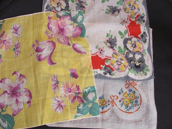 Lot of 3 Floral Cotton Hankies (lot 11b)