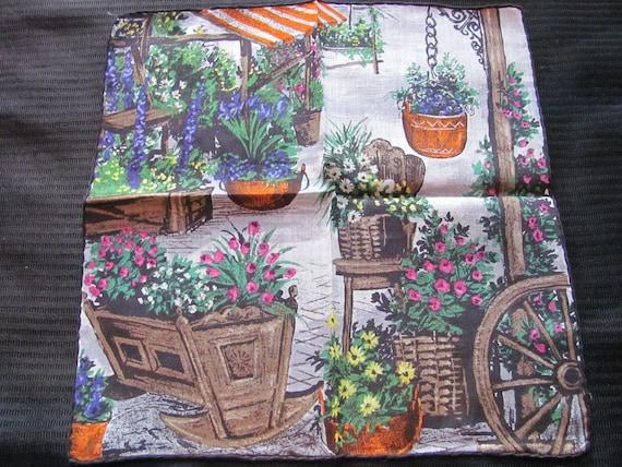 Beautiful Garden Scene Cotton Hankie