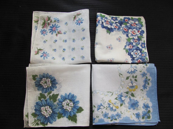 Lot of 4 White and Floral Cotton Hankies - Unused