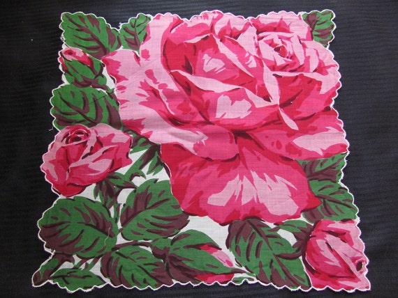 Beautiful Red Rose Floral Cotton Hankie Handkerchief - Unused NOS