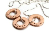 hand stamped  custom  inspirational word necklace,copper rings, personalized jewelry