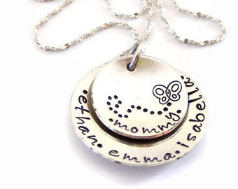 Hand stamped mommy jewelry-personalized childrens name necklace-sterling silver