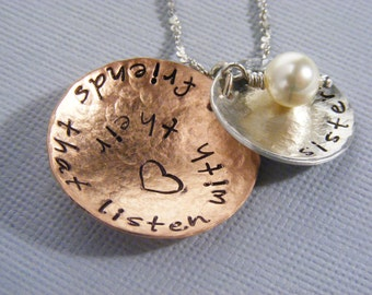 Hand stamped-sisters necklace-quote necklace-sister quote jewelry-custom jewelry