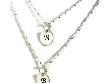 "Personalized monogram ""inital necklace"" hand stamped sterling silver"