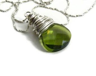 Wire wrapped necklace - Gemstone briolette necklace - Birthstone necklace - olive green necklace