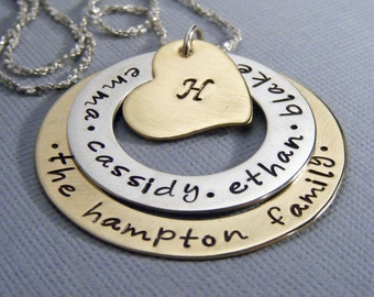 Family name necklace-hand stamped- personalized mothers necklace-childrens names-mommy jewelry