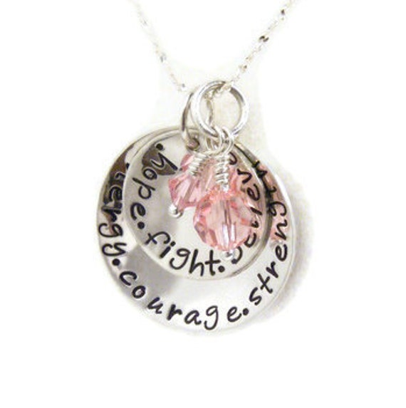 """Personalized """"words of inspiration"""" -breast cancer awareness-hope-fight-believe-hand stamped necklace"""