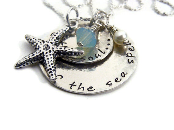 Sea quote necklace, sea jewelry,hand stamped, sterling silver- inspirational quote jewelry