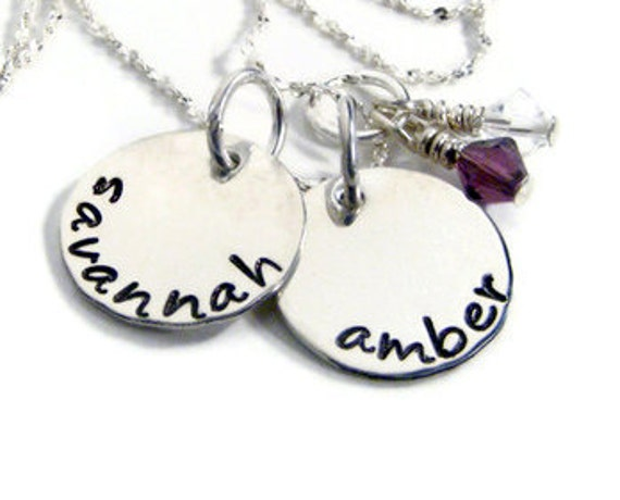 "Hand stamped  ""mommy"" necklace personalized names & birthstones"