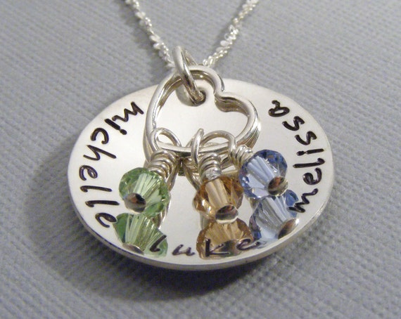 Personalized Mother's Necklace - Hand Stamped Jewelry - Mom Necklace - Personalized Mommy Jewelry - Name Necklace - Birthstone necklace