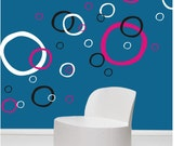 BUBBLES CIRCLES wall decals kids room stickers art (3 COLORS)