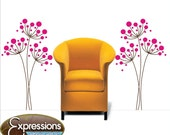 TALL CIRCLE FLOWERS , vinyl wall decals floral interior design idea stickers