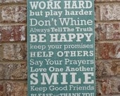 """Family Rules of the House Subway Sign - Hand Painted and Distressed - 11""""x24"""""""