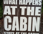 """What Happens at the Cabin - Subway Sign - Hand Painted and Distressed -11""""x11"""""""