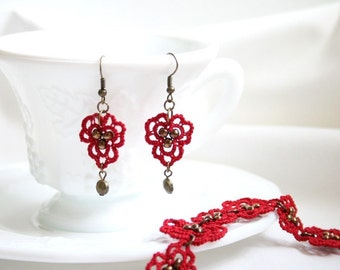 Red Tatting Lace Beaded Bracelet Earring Set